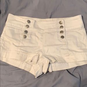 White button up shorts